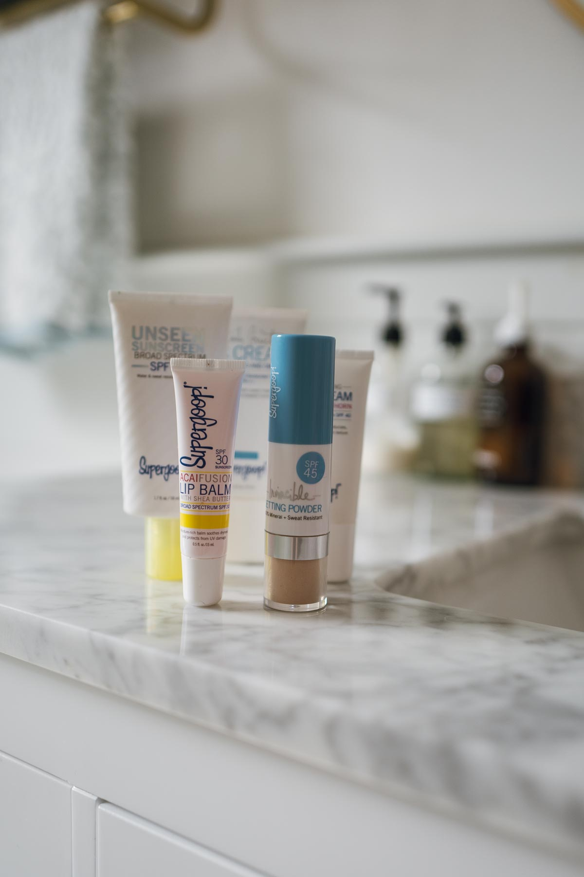 Jess Ann Kirby packs her Supergoop skincare essentials for a visit to Beaver Creek Colorado