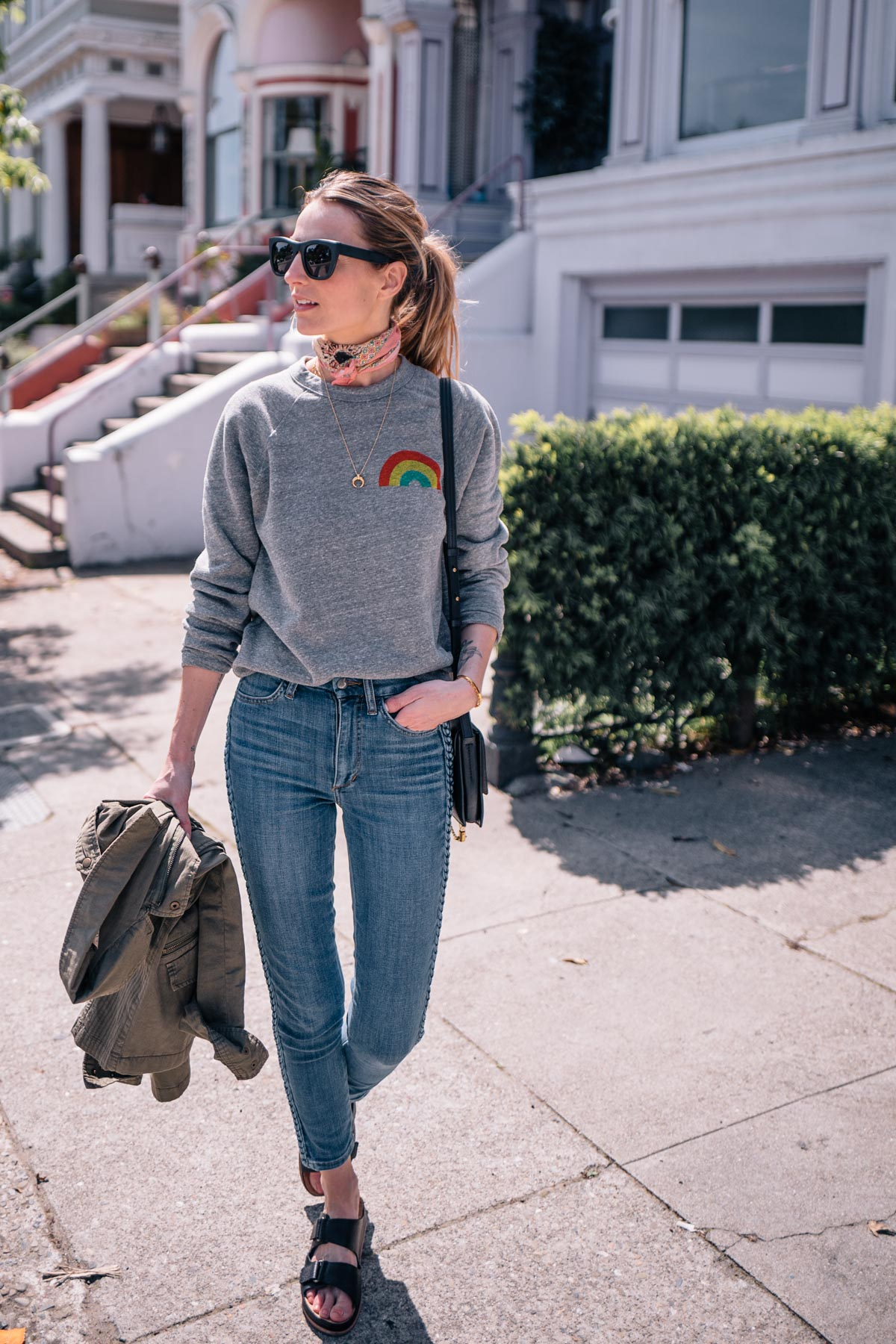 Jess Ann Kirby wears a casual look in San Francisco with Joes Jeans and a Culk sweatshirt