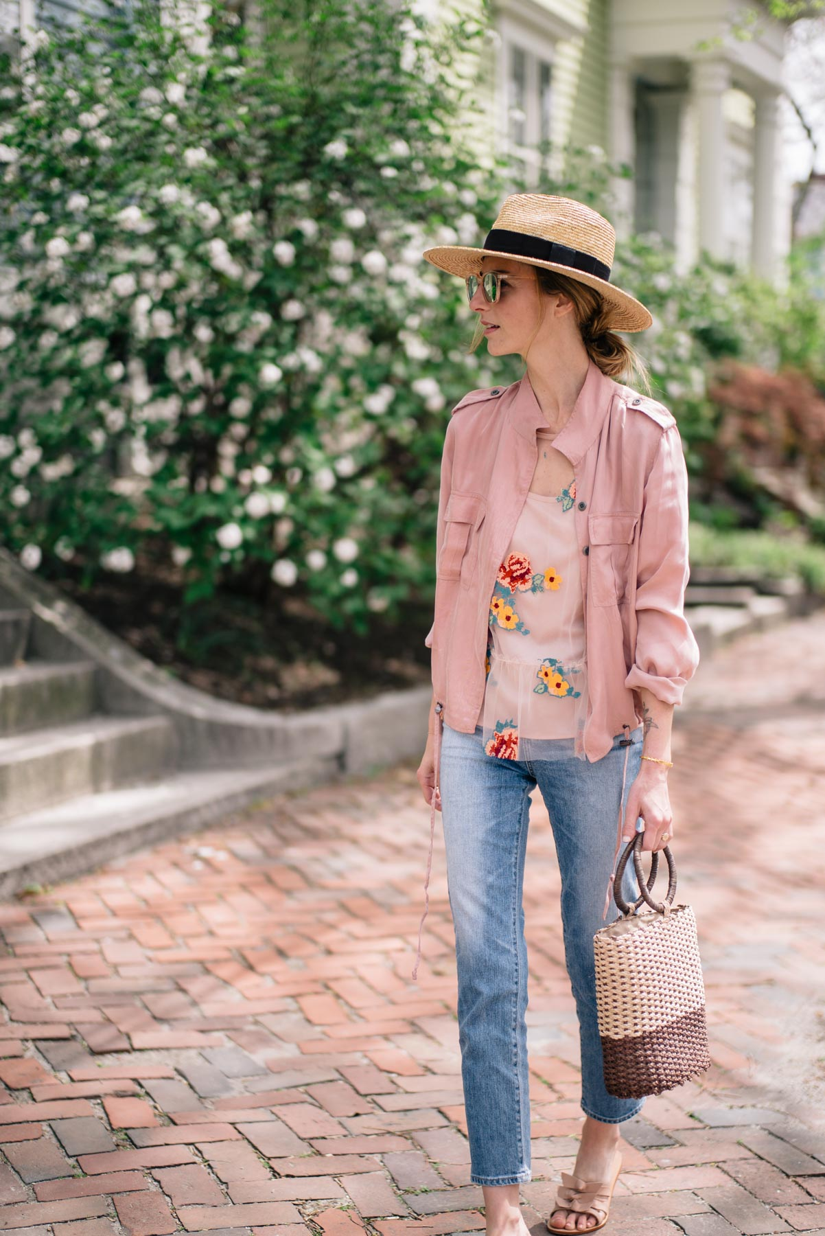Jess Ann Kirby styles a spring look with AG Pheobe jeans and Rails Rowen Anorak