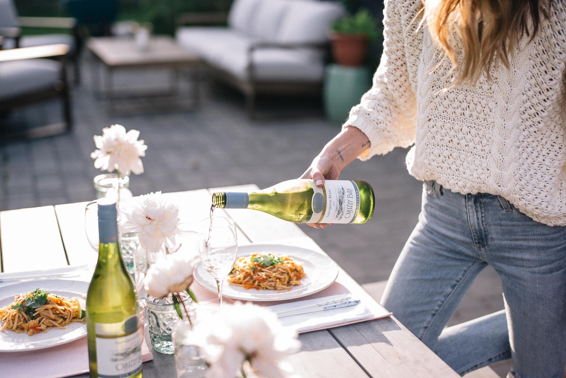 Jess Ann Kirby has a date night at home with pad thai and Oyster Bay wine