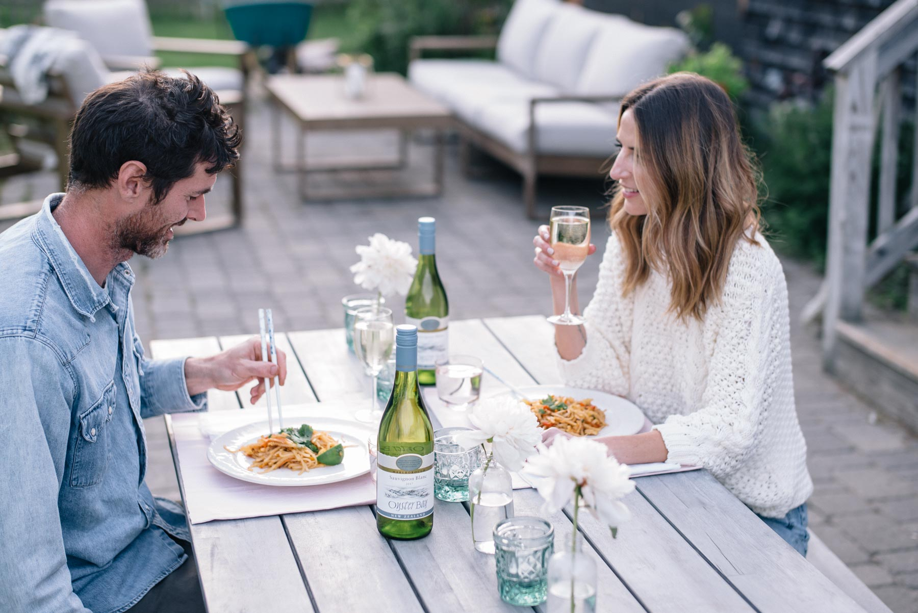Jess Ann Kirby prefers an at-home date night in the summer with a dinner on the patio and chilled Oyster Bay sauvignon blanc