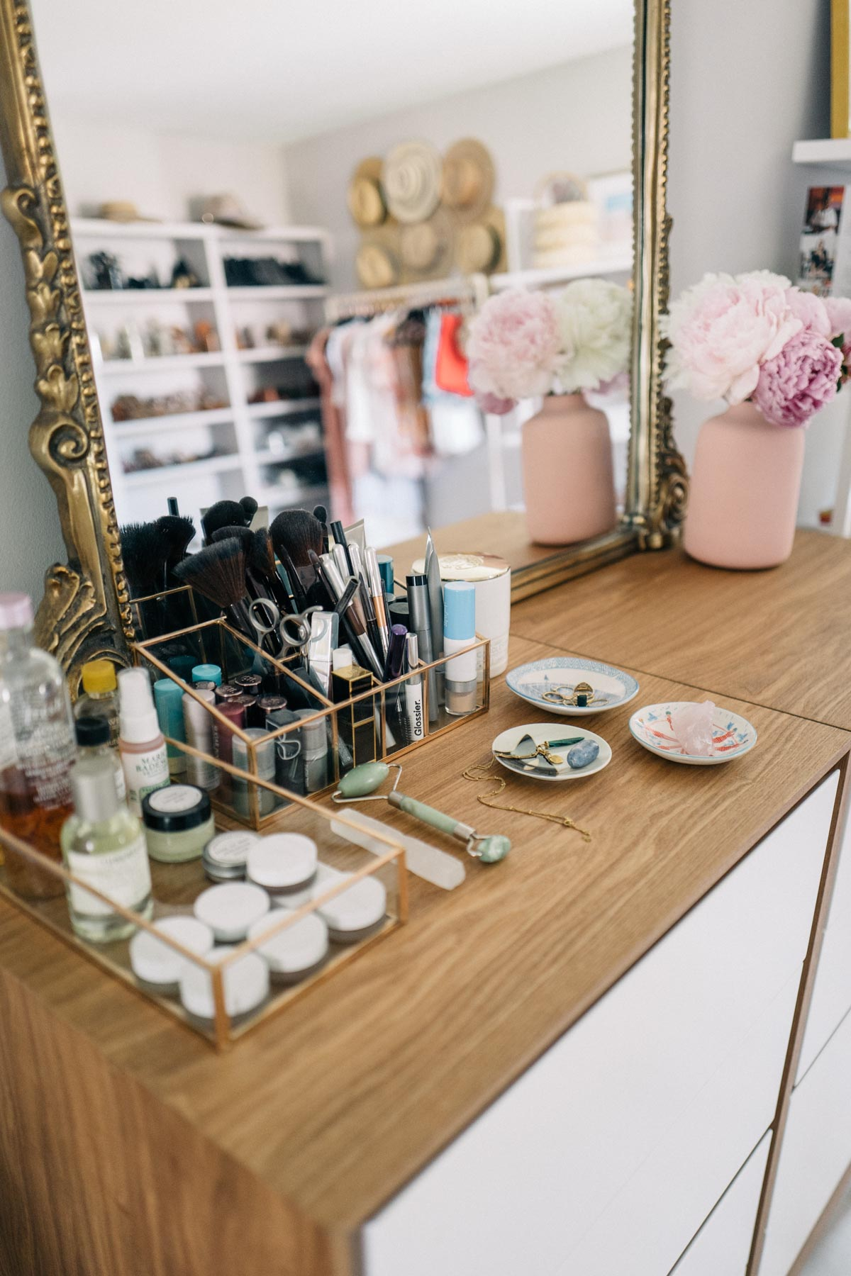 Jess Ann Kirby uses her vanity space to display makeup and skincare products
