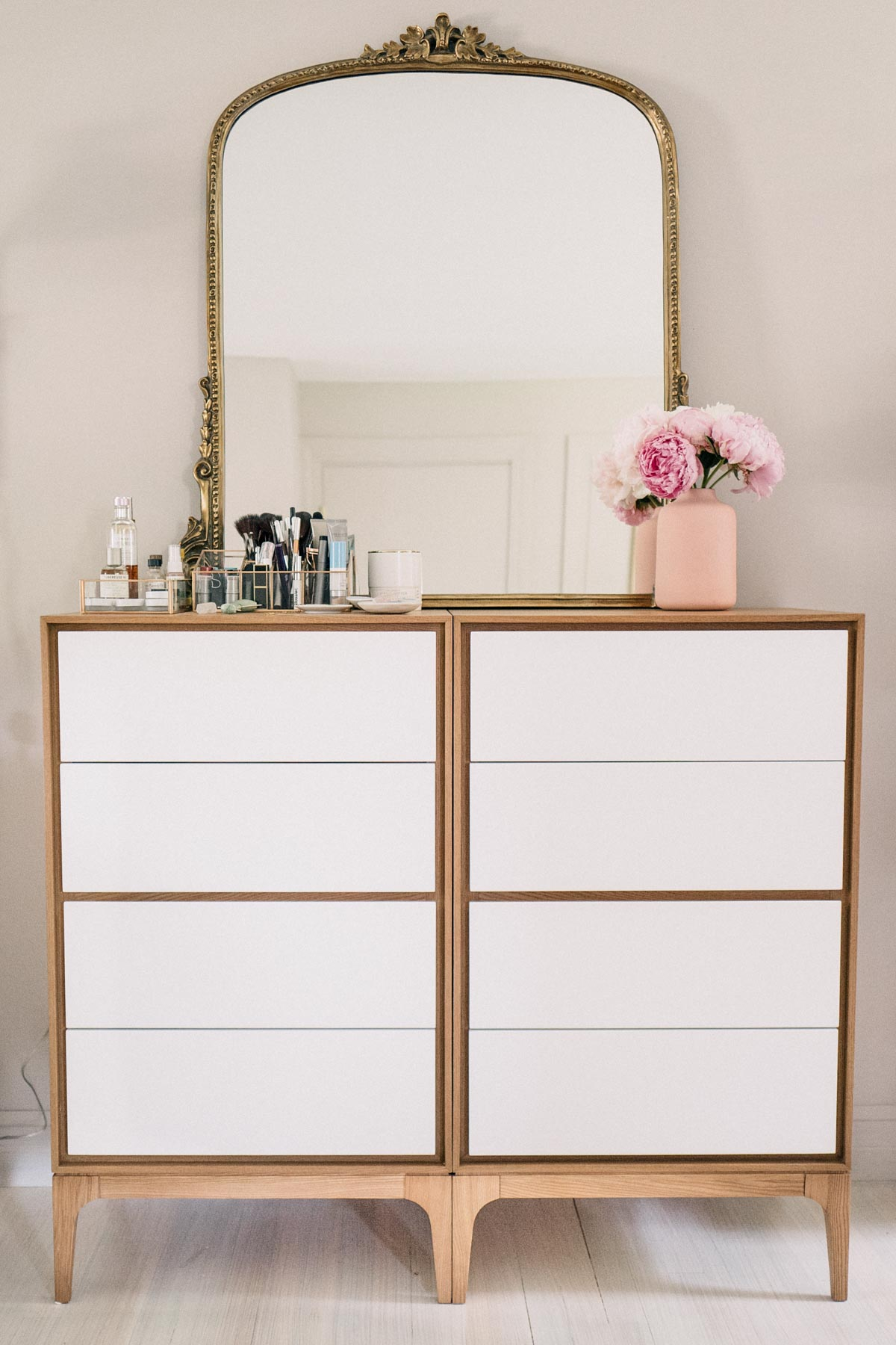 Jess Ann Kirby styles two Rove Convepts kure joren dressers for a vanity with double the storage space