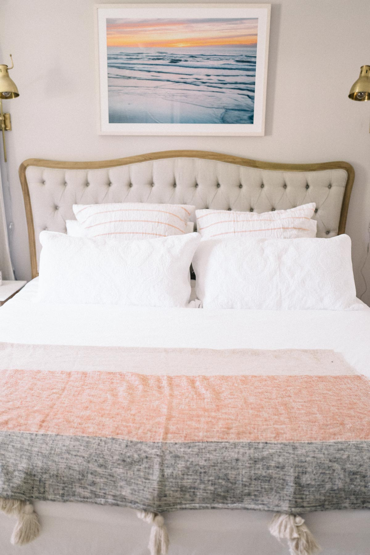 Jess Ann Kirby gives her bed a modern update with a tufted french upholstered bed frame
