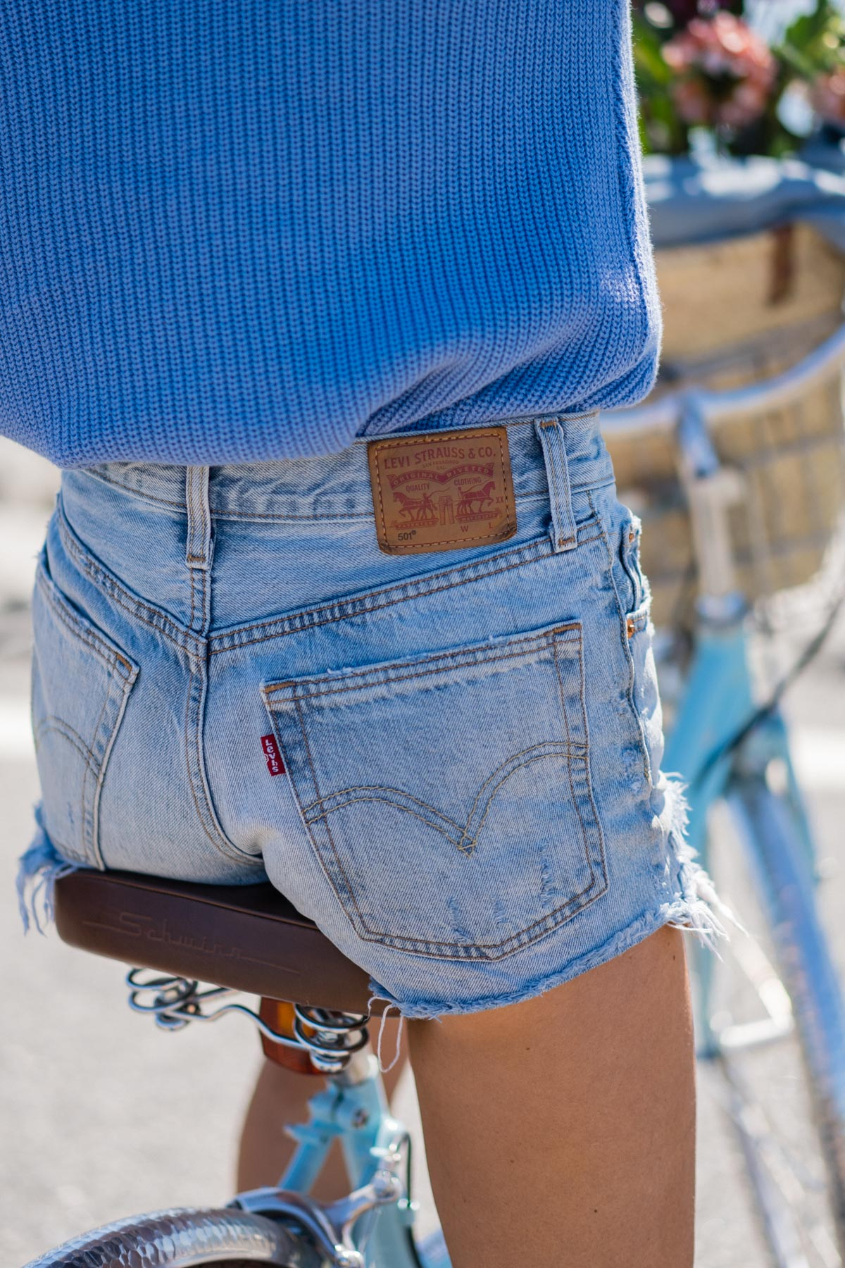 Jess Ann Kirby's favorite denim shorts include Levis 501's for a timeless look