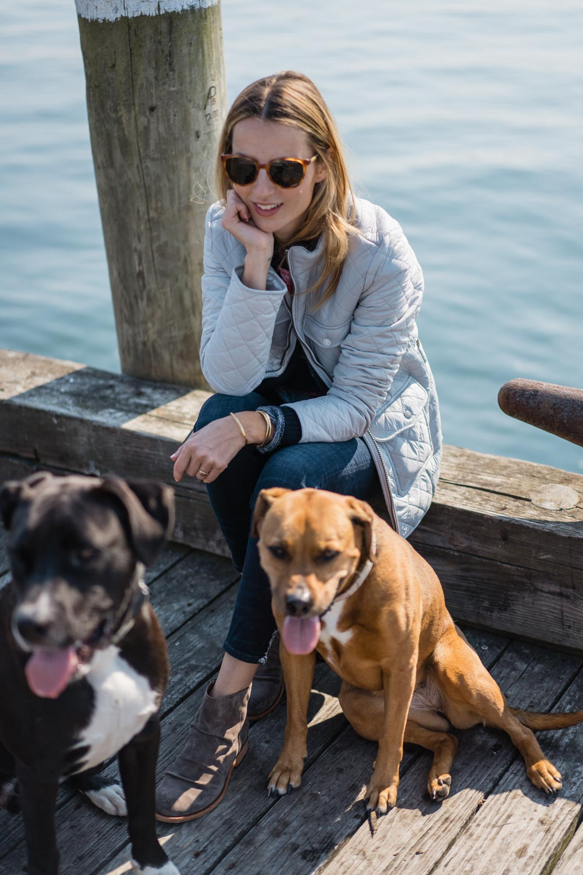 Jess Ann Kirby takes her puppies on a day trip to Newport, RI in the Barbour Coastal Collection
